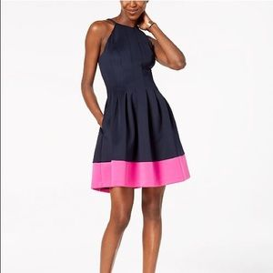 Vince Camuto navy and pink color block dresss
